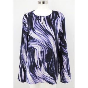 St John Wave Print Silky Stretch Tunic Top Blouse